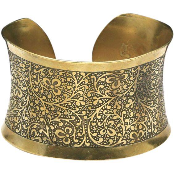 Vintage Large Brass Cuff Bracelet Scroll Work Floral