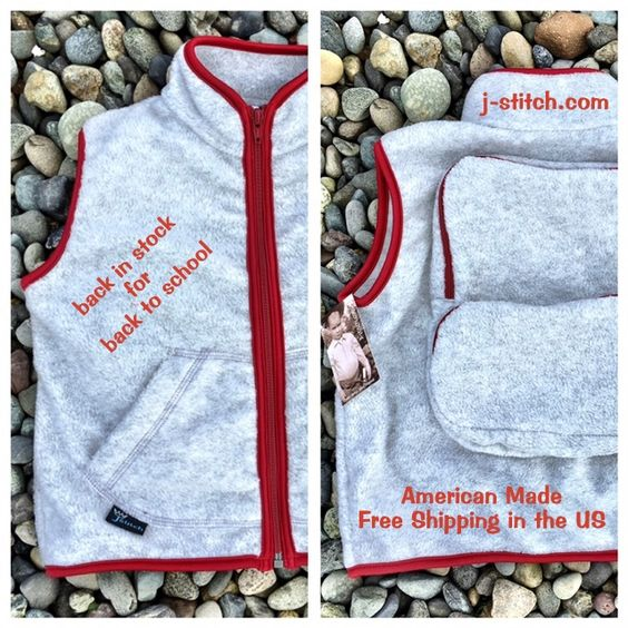 The Quinn vest gray with red trim is BACK IN STOCK. #kidsfashion #backtoschool #freeshipping #AmericanMade