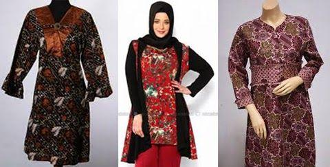 Model Baju Batik Muslim Orang Gemuk Gaun Lengan Panjang