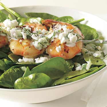 Shrimp Skewers with Tzatziki, Spinach, and Feta by bonappetit #Shrimp #Tzatziki #bonappetit