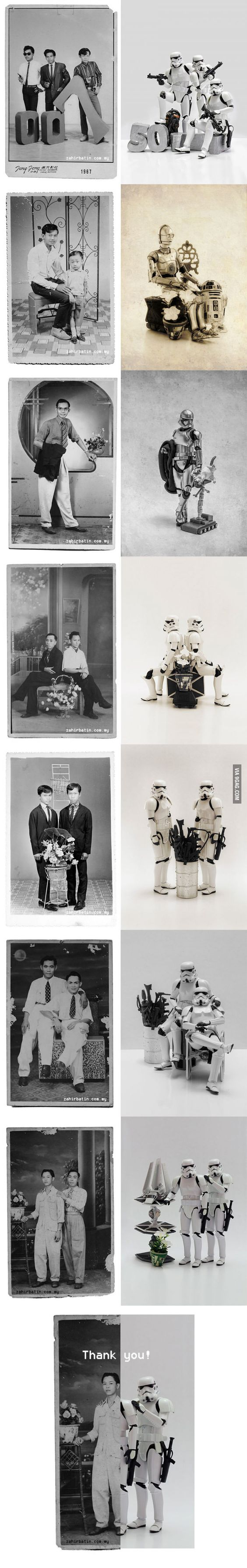 Recreating old family photos with Star Wars toys.