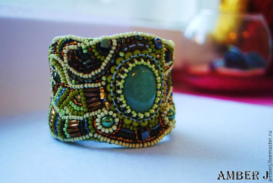 """Купить Браслет """"Яблоневый Цвет"""" - салатовый, браслет зеленый, браслет из бисера, браслет с авантюрином, зеленый"""