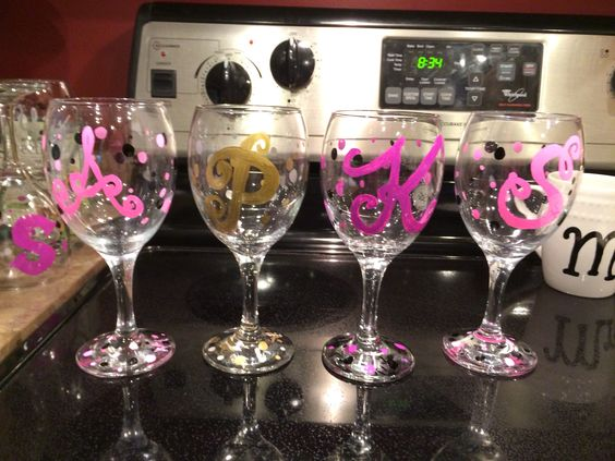 Wine glasses i made with sharpie oil based markers gift for How to decorate wine glasses with sharpies
