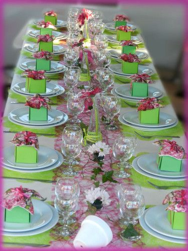 Garden parties jardins and tables on pinterest - Decoration de table anniversaire 60 ans ...