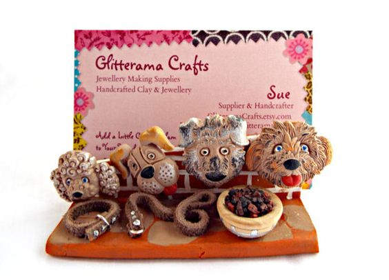 Business Card Holder, Dog Lover Display, Business Card Stand, Craft Fair Display, Handmade Clay Stand, Market Display Stand, UK Seller