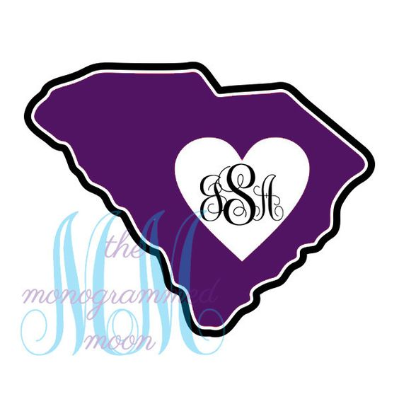 SC Heart Cut Out Monogrammed Decal https://www.themonogrammedmoon.com/products/south-carolina-sc-heart-cut-out-state-monogram-decal