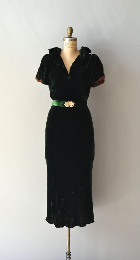 30s dark green dress