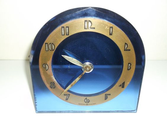 Vintage GE General Electric Art Deco Cobalt Blue Mirror Glass Clock Beveled | eBay