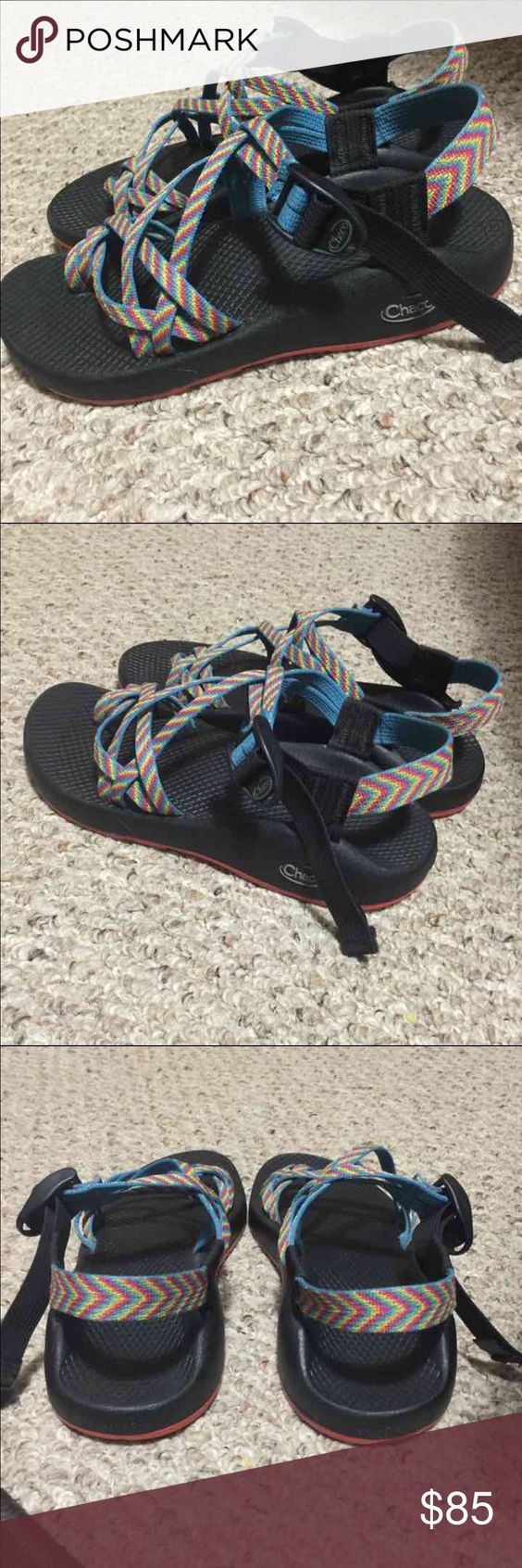 CHACOS ZX/2 Double Straps Sandals Vibram Fiesta CHACO brand, highly sought after color. Fiesta rainbow. Double strap and toe strap. Women's size 8. Vibram bottoms. Excellent preowned condition, I just don't care for the toe strap, my loss is your gain. I ship fast. Thank you for looking :) NOT ELIGIBLE FOR BUNDLE DISCOUNT. Thank you!!!! Chacos Shoes Sandals
