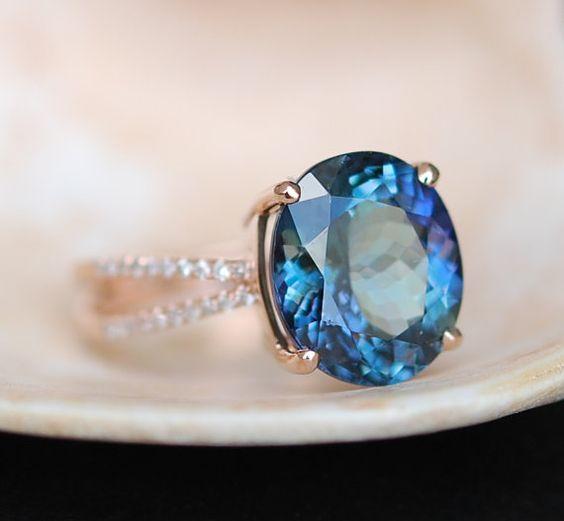Tanzanite Ring. Rose Gold Engagement Ring. GIA certified Teal Tanzanite oval cut engagement ring 14k rose gold.