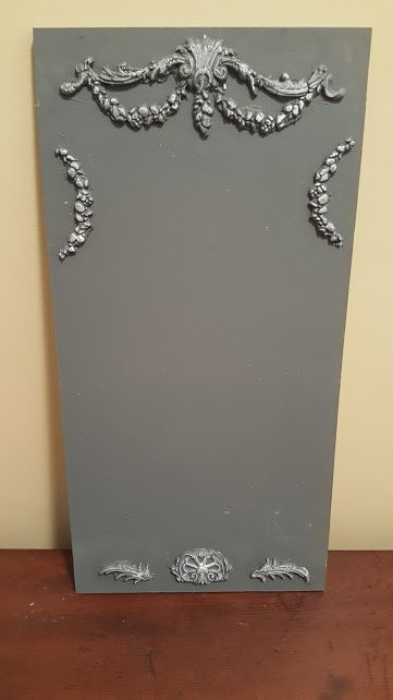 Chalkboard embellished with IOD Paper Clay and Moulds!  #IOD #ironorchiddesigns #DYI #Moulds