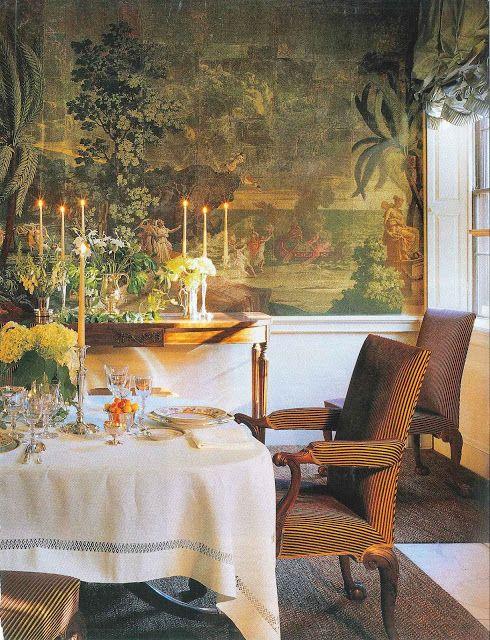 John stefanidis on the dining room wall hangs 1820 39 s for John stefanidis interior design