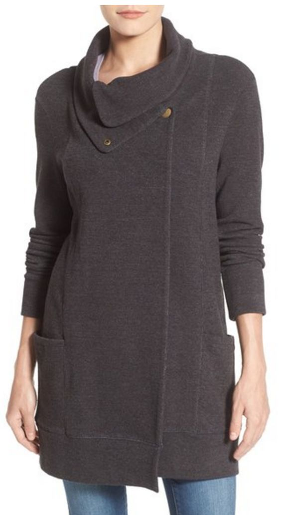 Love this convertible collar sweater coat