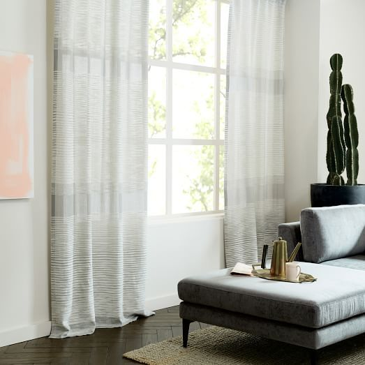 Semi Sheer Chevron Curtain White Striped Curtains Home Decor
