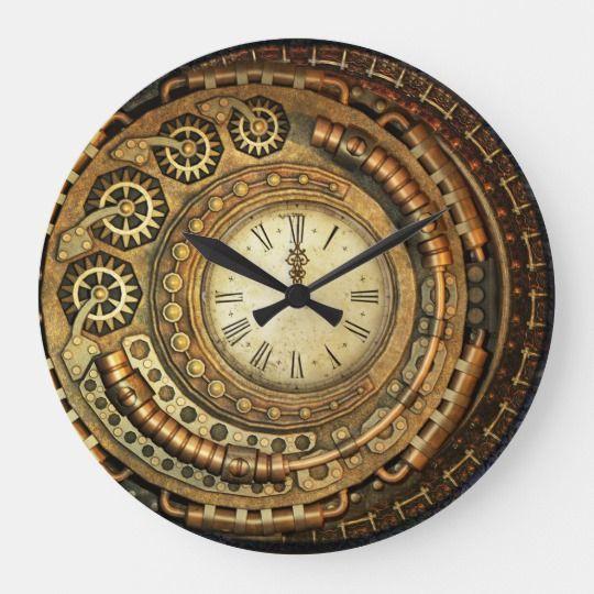 Asymmetrical Steampunk Wall Clock Zazzle Com Wall Clock Diy