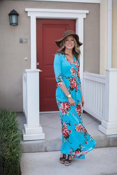 Full length dress. Wrap around dress. Modest Dress. Maxi Dress.