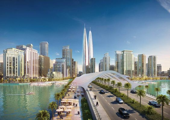 A pair of twin towers were initially planned to be built on the site of Dubai Creek Tower