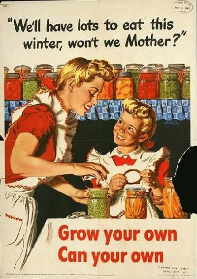 """Vintage Victory Garden Poster: """"Grow your own, can your own!"""" mother and daughter."""