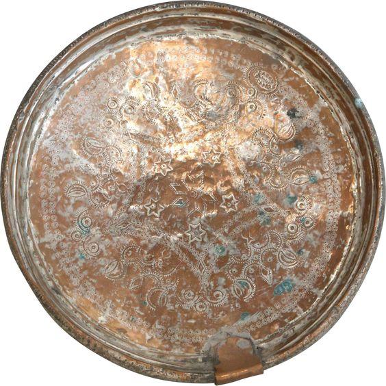 Antique Turkish Ottoman Silver Copper Tray Platter - Antique Turkish Ottoman Silver Copper Tray Platter