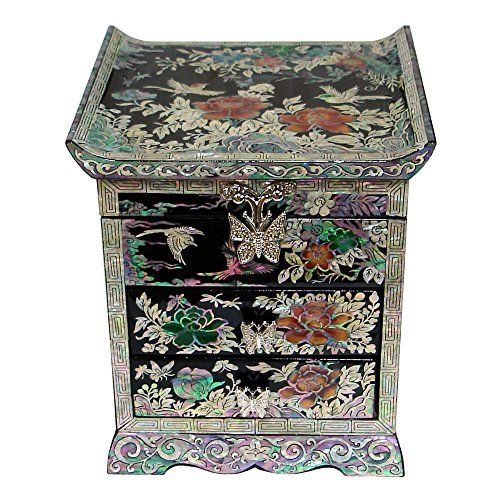 Mother of Pearl Peony Flower Bird Black Lacquer Wood Draw…