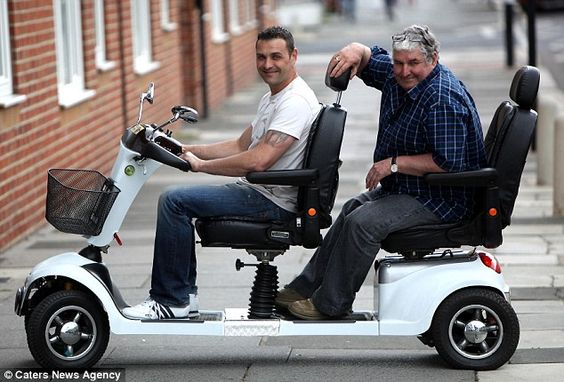 The father and son duo have even made a tandem mobility scooter for those who do not want to travel alone