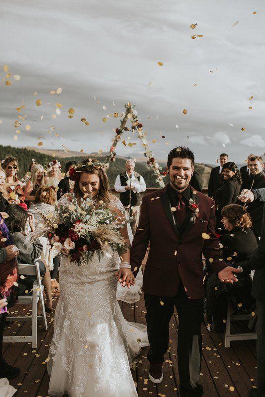 Boho Wedding Recessional Idea Gold Confetti For Wedding Reception Hop Rabbit Flowers Wedding Wire Wedding Recessional Boho Wedding