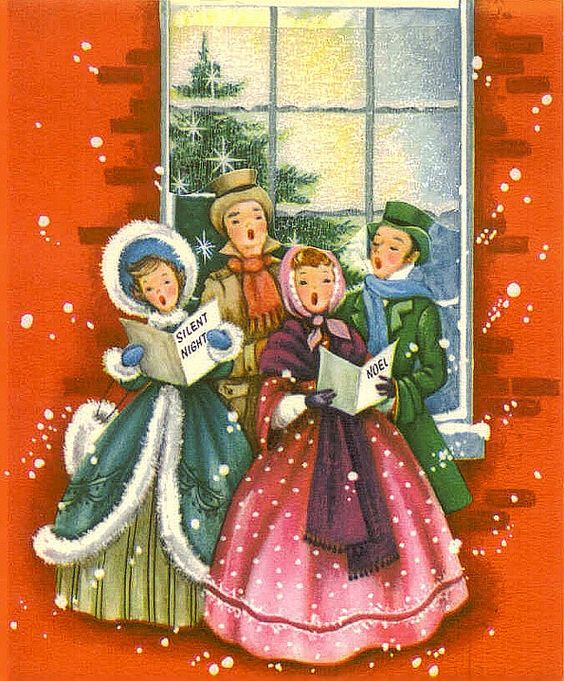 Vintage Wooden Christmas Carolers Set Of 3 Victorian: Christmas Caroling In The Snow.