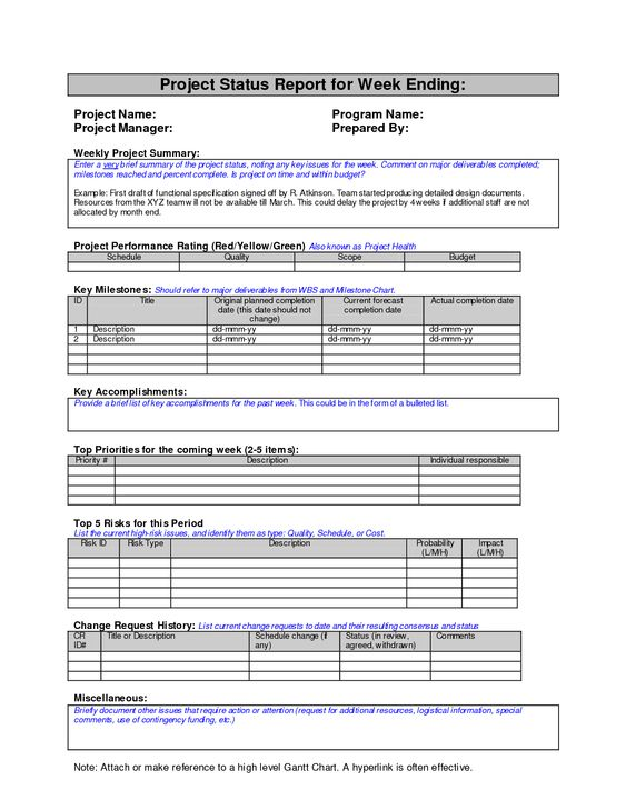 Weekly Project Status Report Template  Report Templates