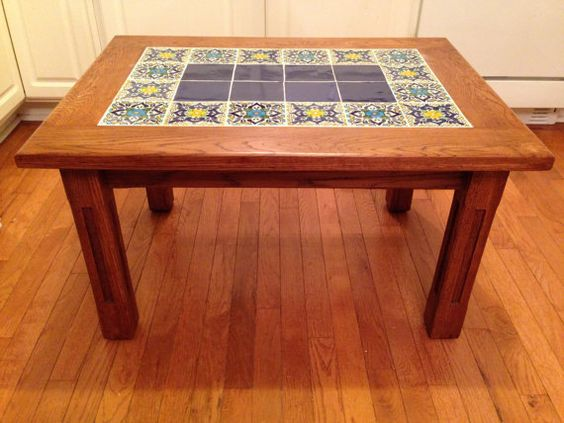 gorgeous oak and mexican tile coffee table by