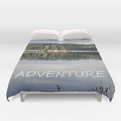 Adventure. Canoeing on the lake.  Duvet Cover by Guido Montañés - $99.00