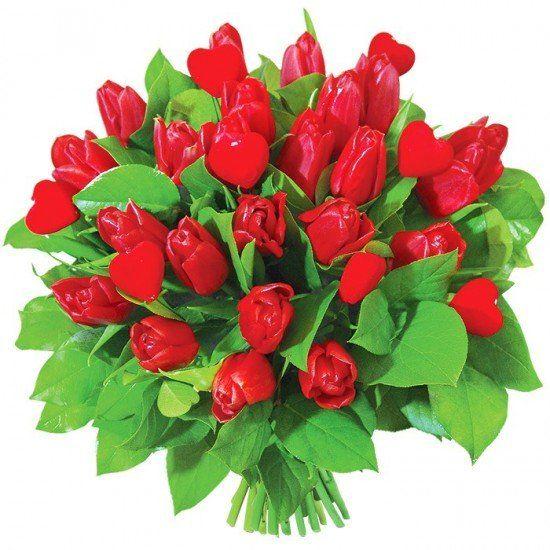 Bukiet Zakochane Tulipany Flowers Christmas Wreaths Holiday Decor