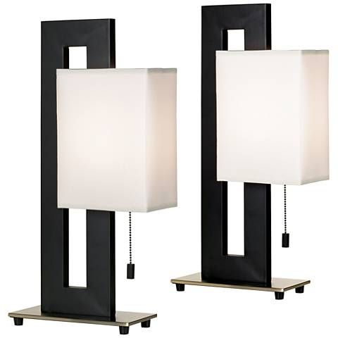 Black Floating Square Table Lamp Accent Set Of 2 57r79 Lamps Plus Square Table Lamp Lamp Table Lamp Sets