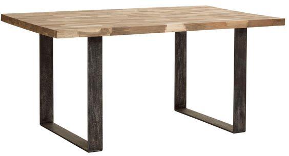 Table salle manger table mosaique pied m tal et teck for Table salle manger bois brut