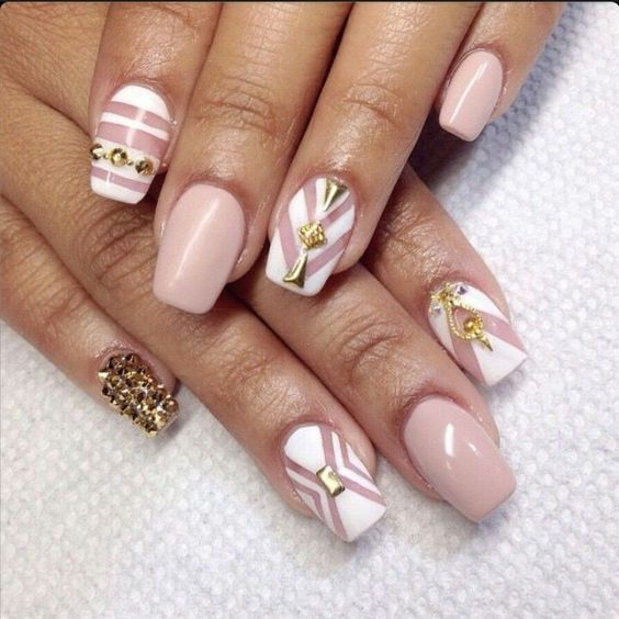 beige white square tip acrylic nails w gold rhinestones nails pinterest acrylics. Black Bedroom Furniture Sets. Home Design Ideas
