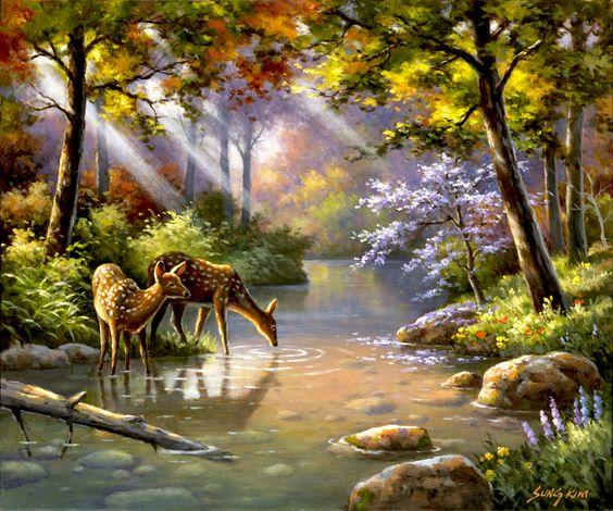 Doe Ray Me Creek - deer painting by Sung Kim  :)