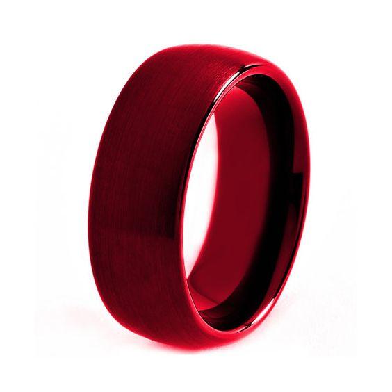 Red Titanium Ring, Red Men Titanium Rings, Red Wedding