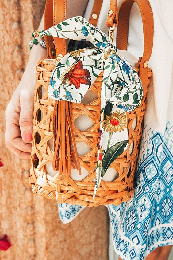 Bucket Bag with scarf tied on it