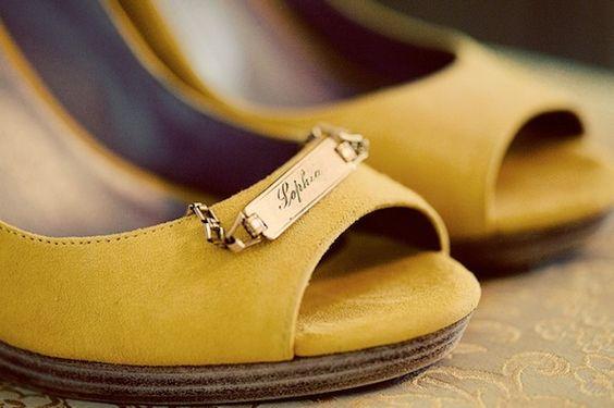 Yellow peep toe shoes