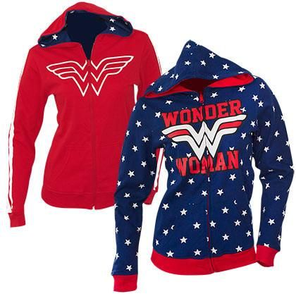Wonder Woman Logo Women/'s Red Zip-Up Hoodie