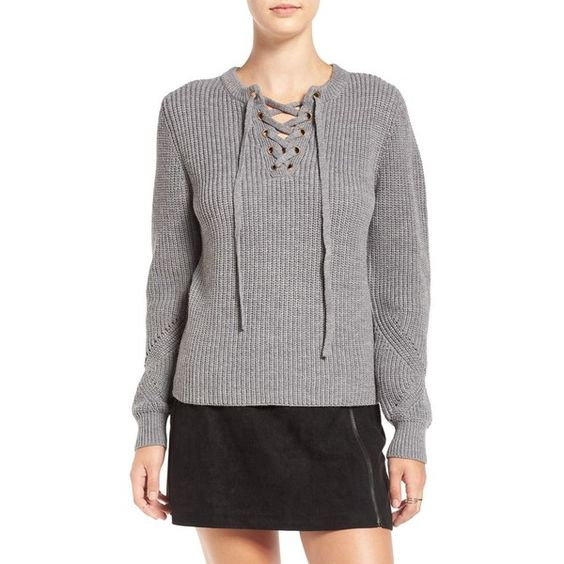 Women's Elodie Rib Knit Lace-Up Sweater ($49) found on Polyvore featuring women's fashion, tops, sweaters, grey, lace up corset, front lace up corset, lace up corset top, summer sweaters and pullover sweaters: