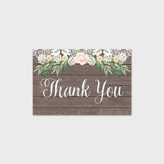 Rustic Thank You Card Lace And Roses Thank You Note Country Wedding Thank You Note Wood Thank You Note Birthday Shower 4x6 Instant Download by MossAndTwigPrints on Etsy