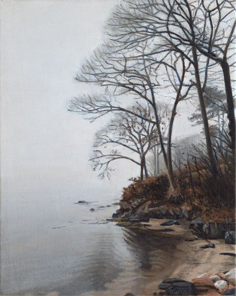 Cousins Island – Morning Mist  - 10″ x8″ oil painting by Nick Savides