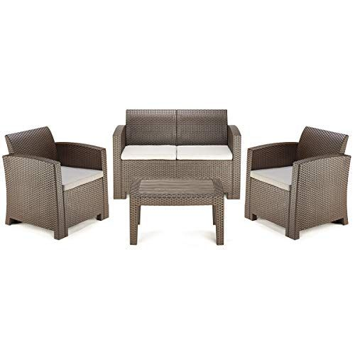 Pamapic 4 Piece Outdoor Patio Furniture Sets All Weather Chair With Washable Cushion Coffee Imitation Wood Patio Furniture Sets Furniture Outdoor Sofa Sets