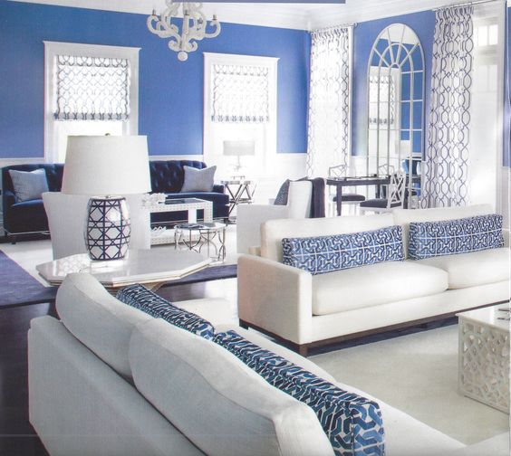 Sofa Pillows in David Hicks Cliffoney in Blue/White with Drapes and Roman Shades in Gazebo in Blue (Mabley Handler Interior Design)(http://store.lynnchalk.com/david-hicks-for-groundworks-cliffoney-blue-white/)