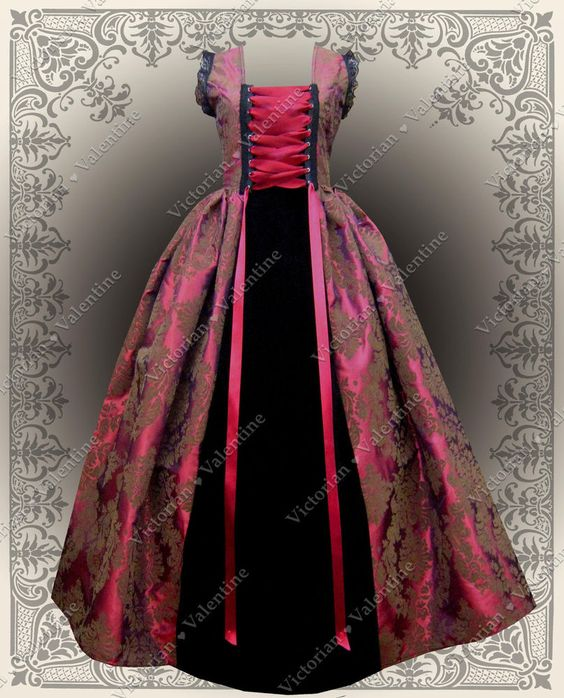 Victorian Civil War Steampunk Fuschia Brown Gothic Fairy History Dress Gown XL #VictorianValentine #BallGown