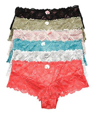 Look what I found on #zulily! Coral & Light Blue Lace Hipster Set #zulilyfinds