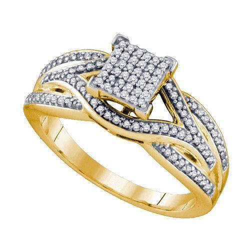 10K Yellow Gold 0.33 Ctw Diamond Micro Pave Ring 3.39g