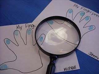 SO cute to do fingerprints for an All About Me activity station.  Kids love magnifying glasses.