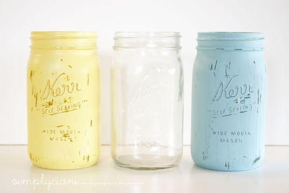 Simply Ciani: DIY: Painted Mason Jars  Great tutorial