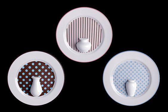 Trio de pratos com vasinhos